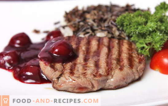 Meat with cherry - on the table will not be superfluous! Meat recipes with cherries: in a frying pan, sleeve, foil, under a baked ham and in small pieces