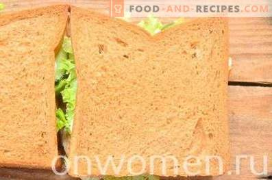 Sandwich with rye bread, breast and cucumber