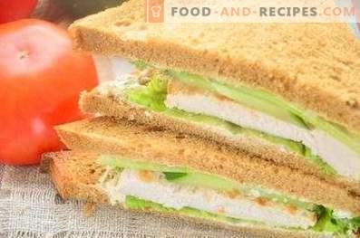 Kanapka z chlebem żytnim, piersią i ogórkiem