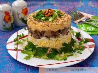 Sałatki francuskie z grzybami i kurczakiem