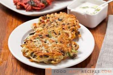 Potato pancakes with mushrooms